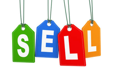 3d illustration of sell word text hanging with string label tag Stock Photo
