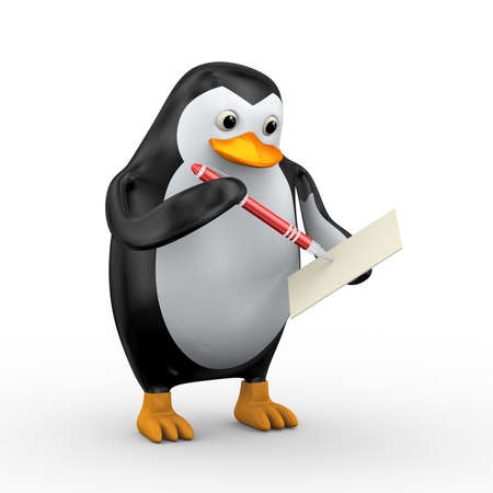 3d illustration of penguin writing with red stylish red pen Stock Illustration - 121961261