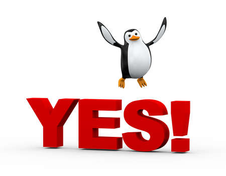 3d illustration of cue happy penguin jumping on word yes Stock Illustration - 121961267