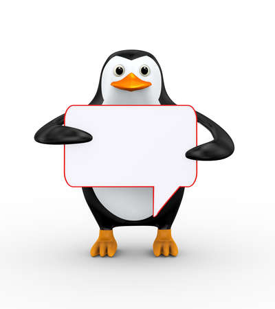 3d illustration of cute penguin holding empty blank bubble speech