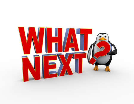 3d illustration of penguin  standing with text what next question