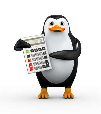 3d illustration of penguin holding and pointing to calculator Stock Photo