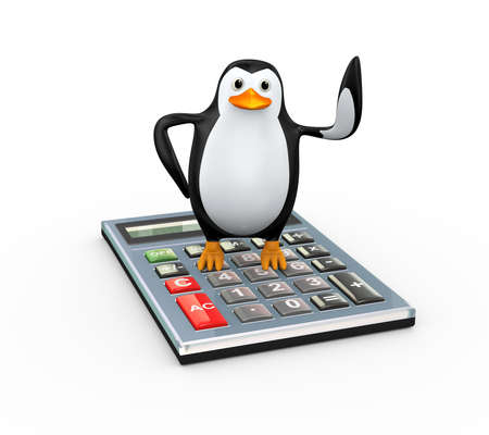 3d illustration of cute penguin standing on large calculator