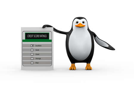 3d illustration of cute penguin standing with credit score rating. Stock Illustration - 121961306