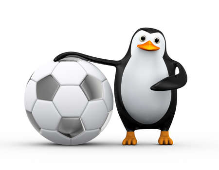 3d illustration of penguin standing and pointing to soccer football ball Stock Photo