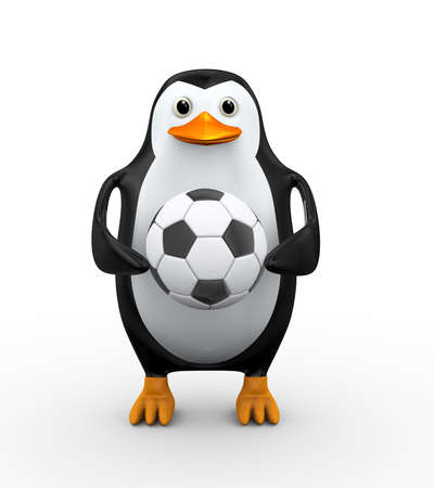 3d illustration of penguin standing and holding to soccer football ball