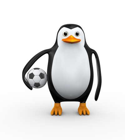 3d illustration of penguin holding to soccer football ball Stock Photo