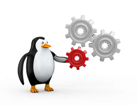 3d illustration of cute penguin with cogwheel gears