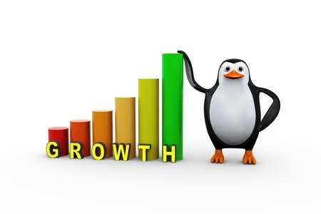 3d illustration of penguin with growth progress bars Stock Photo