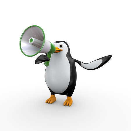 3d illustration of penguin yelling and shouting through megaphone Stock Illustration - 121961339