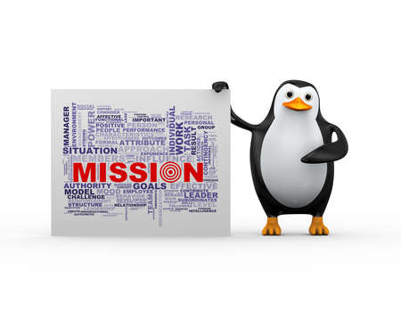 3d illustration of penguin standing with word tags mission wordcloud. Stock Photo