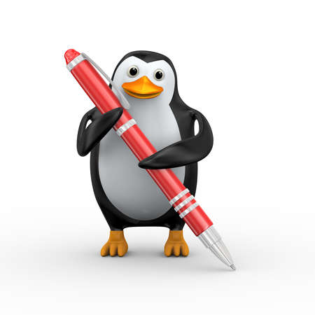 3d illustration of penguin writing with red large stylish pen