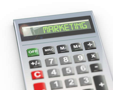 3d illustration of calculator with digital text word marketing on lcd display