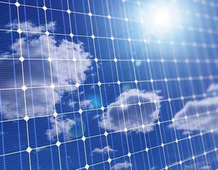 3d illustration of close of large solar panel with cloud sky reflection Stock fotó