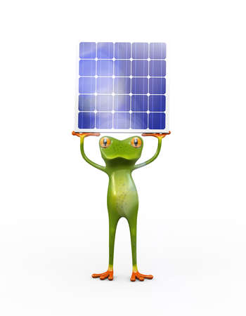 3d illustration of frog holding solar panel Stock fotó
