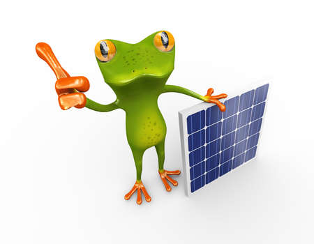3d illustration of frog showing thumb standing with solar panel