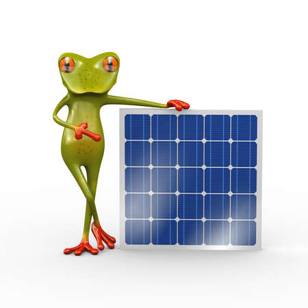 3d illustration of frog standing with solar panel