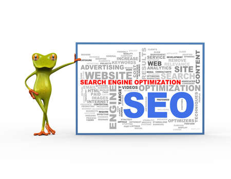 3d illustration of cute green frog standing with wordcloud word tags of seo search engine optimization