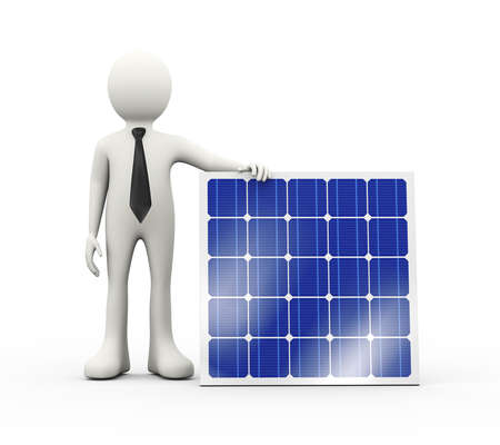 3d illustration of man standing with solar panel. 3d human person character and white people
