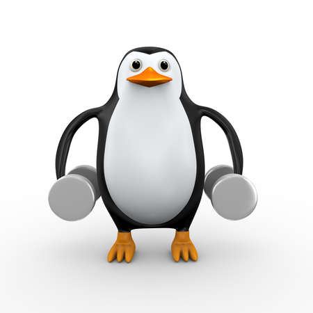 3d illustration of cute penguin exercising with dumb bells for health fitness Banco de Imagens