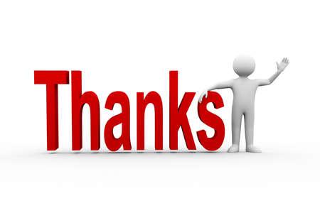 Illustration 3D de l'homme debout avec le texte de mot merci. caractère de la personne humaine 3d et les blancs