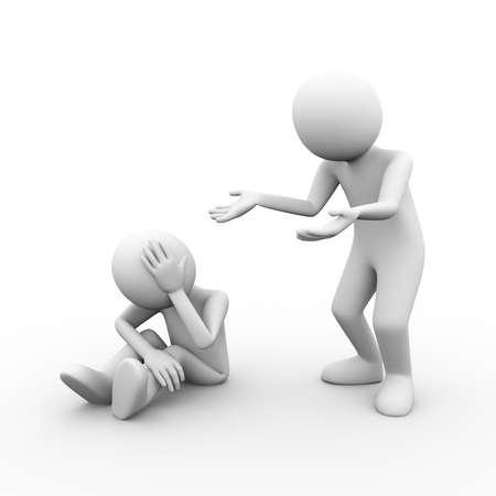 3D-Darstellung von Konfliktproblemen Streit zwischen Menschen. 3d menschlicher Mann-Person-Charakter und weiße Leute Standard-Bild