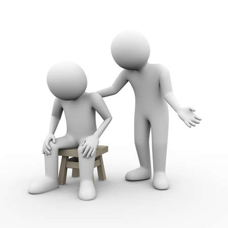 3d illustration of man sympathy comforting to his frustrated upset sad friend. 3d human person character and white people