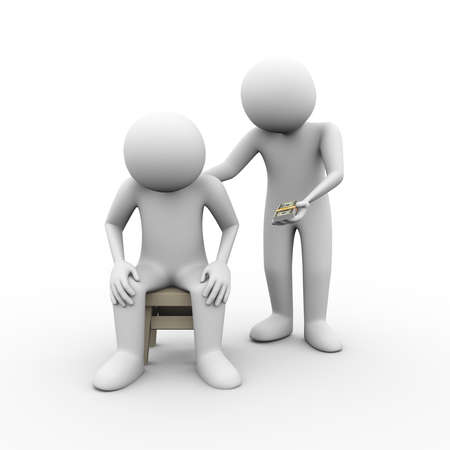3d illustration of man giving money to his friend. Concept of sympathy comforting friendship moral financial help support