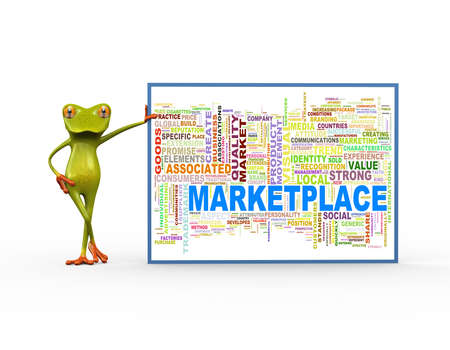 3d illustration of cute green frog standing with wordcloud word tags of marketplace