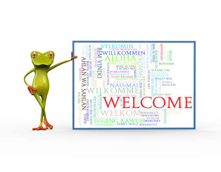 3d illustration of cute green frog standing with wordcloud word tags of welcome in different languages