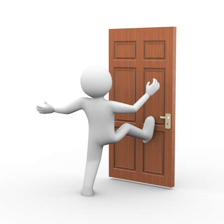 3d illustration of man kicking the door. 3d human person character and white people