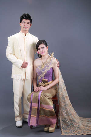 portrait of a young asian couple in love photo