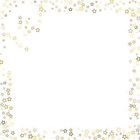 Gold Glitter Stars. Luxury Shiny Confetti. Scattered little sparkle. Flash glow silver, elements. Random magic tiny light. Gold stellar fall white background. New Year, Christmas Vector illustration. Illustration