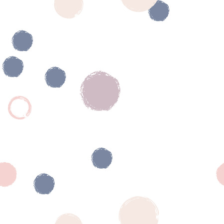 Polka dots pastel seamless pattern. Chalk brush hand drawn rounds, hoops, rings endless repeat print, circle geometric pattern. Trending pastel ornament background. Polka dot vector illustration.