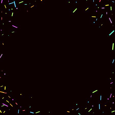 Sprinkles grainy. Sweet confetti on chocolate glaze background. Cupcake, donuts, dessert, sugar, bakery background. Vector Illustration sprinkles grainy holiday, party, birthday, invitation. Illustration