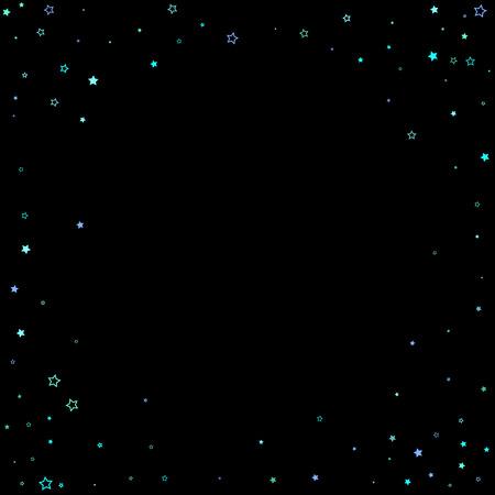 Blue, cyan, turquoise glitter stars, shiny confetti. Scattered little sparkling, glitter elements. Random stellar falling on black background. New Year Christmas background. Vector illustration. Ilustração