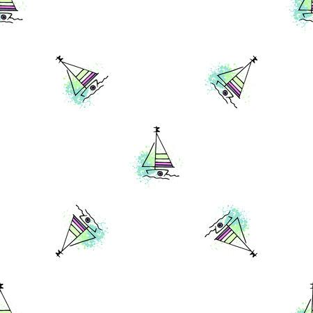 Childish pattern yachts silhouette on wave. Drawing Light summer travel sports seamless pattern. Marine icon sketch. Ship sailboat nautical. Prints Retro sailing transport. Infinitely repeating motif