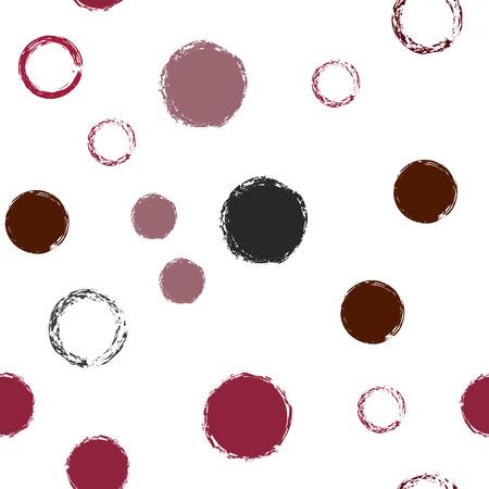 Lunares pastel de patrones sin fisuras. Pincel de tiza dibujados a mano rondas, aros, anillos repetición sin fin de impresión, patrón geométrico abstracto. Tendencias de fondo de adorno en colores pastel. Ilustración de vector de lunares.