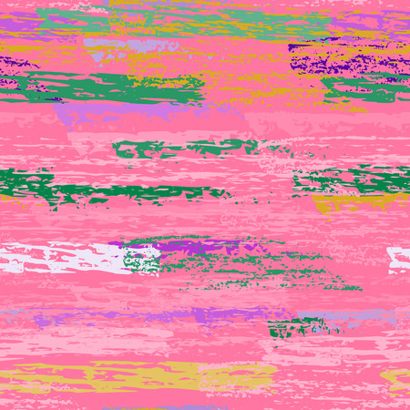 Grunge Stripes Line. Chalk Vector Textures. Seamless Pattern. Stripy Crayon Pencil Strokes. Hand Drawn Pastel. Summer Bright Stripes, Brushes. Horizontal Dirty Pinstripe Endless Repeating Elements.  イラスト・ベクター素材