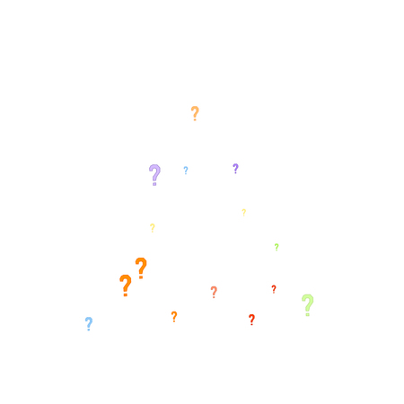Question marks scattered on white background. Quiz, doubt, poll, survey, faq, interrogation, query background. Multicolored template for opinion poll, public poll. Rainbow color. Vector illustration.