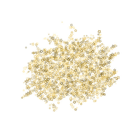 Gold Glitter Stars. Luxury Shiny Confetti. Scattered little sparkle. Flash glow silver, elements. Random magic tiny light. Gold stellar fall white background. New Year, Christmas Vector illustration. Zdjęcie Seryjne - 121043141