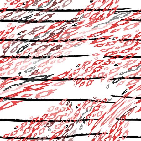 Leopard Print. Modern Stripes Motif. Black White Stripe on Tropical Animal Seamless Pattern. Exotic Summer Wildlife Print. Trending Seamless Pattern. Leopard Modern Endless Repeat Vector Background. Иллюстрация