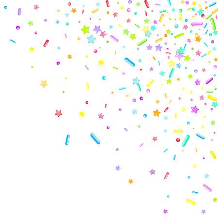 Streut körnig. Cupcake-Donuts, Dessert, Zucker, Bäckerei-Hintergrund. Süßes Konfetti auf weißem Schokoladenglasurhintergrund. Vector Illustration besprüht Feiertagsentwürfe, Party, Geburtstag, Einladung.