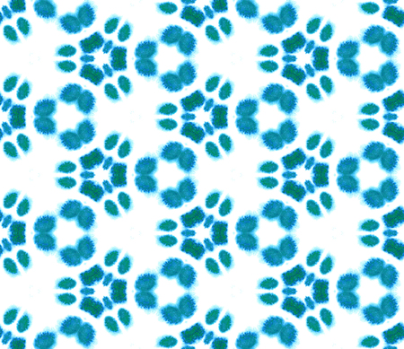 Blue Geometric Watercolor. Surface Textile. Seamless Pattern. Hand Drawn. Blur Brush Texture. Blue Pastel Ornament. Abstract Painted. Tie Dye Background. Surface Paint Textiles. Print Endless Repeat.