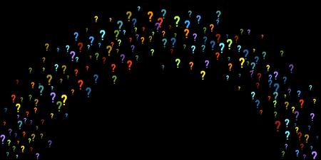 Question marks scattered on black background.
