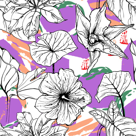 Tropical, animal motif. Black and white Modern summer flower leaf abstract shape brush. Seamless pattern crackle textures. Tropic animal vector background. Watercolor blobs and daubs, ink and stains. Illustration