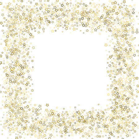 Gold Glitter Stars. Luxury Shiny Confetti. Scattered little sparkle. Flash glow silver, elements. Random magic tiny light. Gold stellar fall white background. New Year, Christmas Vector illustration. Illustration