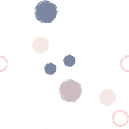 Polka dots pastel seamless pattern. Chalk brush hand drawn rounds, hoops, rings endless repeat print, circle geometric pattern. Trending pastel ornament background. Polka dot vector illustration.