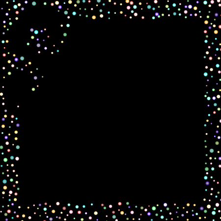 Rainbow stars, iridescent sprocket, shiny confetti. Scattered little sparkling, glitter balls, circles. Random stellar falling on black background. New Year Christmas background. Vector illustration.