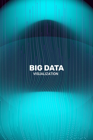 Big Data Visualization. 3D Futuristic Information. Big Data Stream Infographic. Technology Visual Background. Digital Analytics. Business Information. Connection Complex. Vector Network Visualization. Vectores